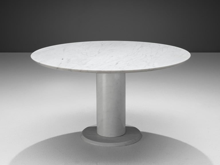 Mid-Century Modern Italian White Marble Dining Table with Set of Six Swedish Dining Chairs in Pine For Sale