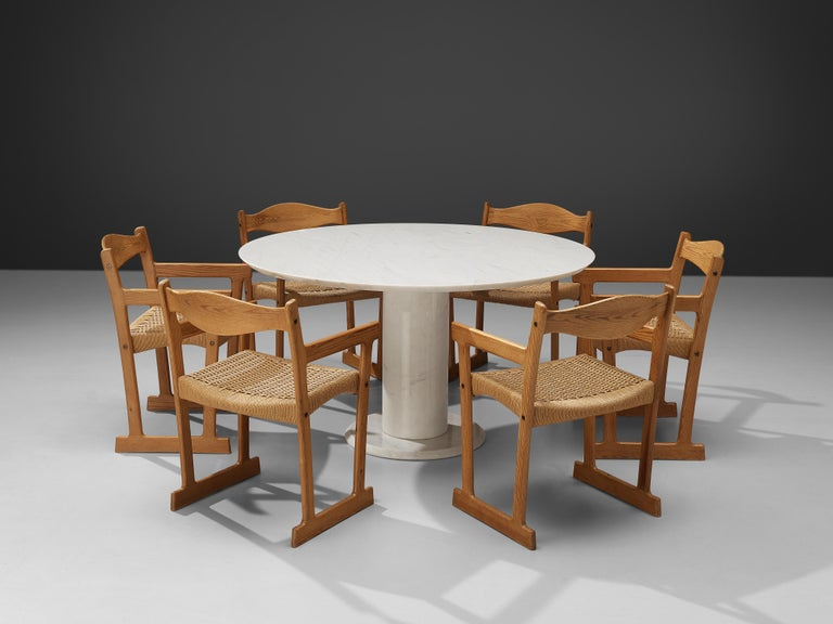 Italian White Marble Dining Table with Set of Six Swedish Dining Chairs in Pine In Good Condition For Sale In Waalwijk, NL