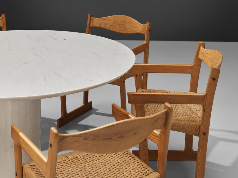 Italian White Marble Dining Table with Set of Six Swedish Dining Chairs in Pine For Sale 1