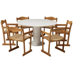 Italian White Marble Dining Table with Set of Six Swedish Dining Chairs in Pine