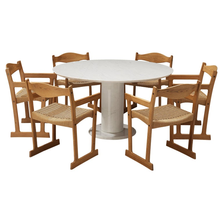 Italian White Marble Dining Table with Set of Six Swedish Dining Chairs in Pine For Sale