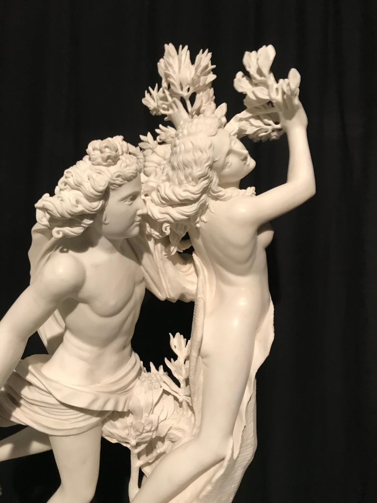 Italian White Marble Sculpture of Apollo and Dafne after Gian Lorenzo Bernini For Sale 8