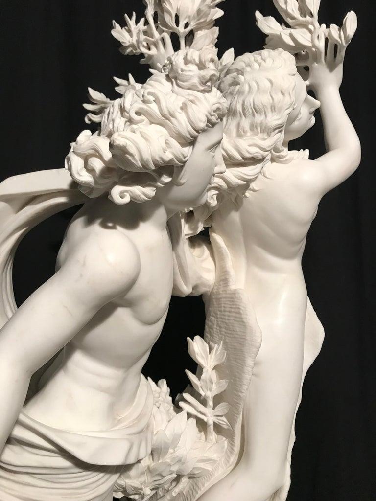 Italian White Marble Sculpture of Apollo and Dafne after Gian Lorenzo Bernini For Sale 11