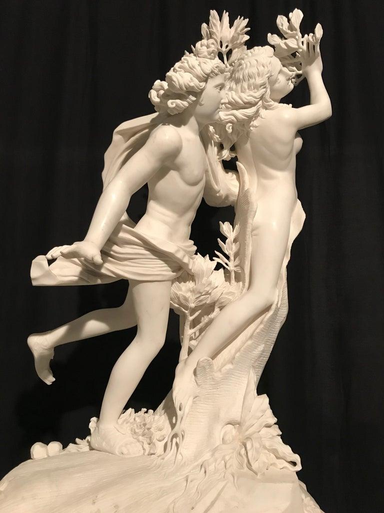 Contemporary Italian White Marble Sculpture of Apollo and Dafne after Gian Lorenzo Bernini For Sale