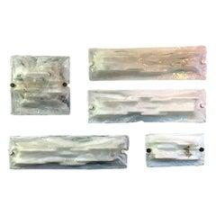 Italian White Murano Glass Applique Set by Toni Zuccheri, 1950s