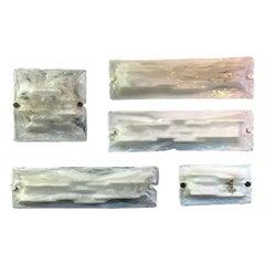 Italian White Murano Glass Applique Set by Venini Murano, 1950s