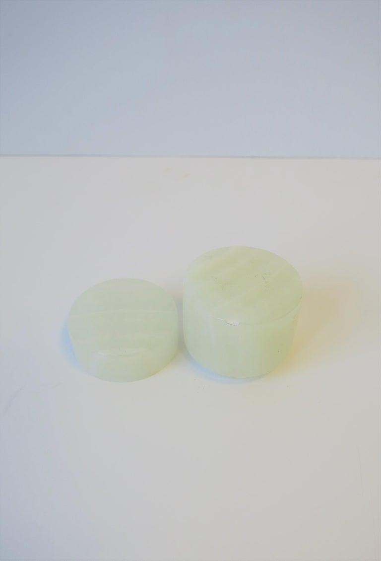 Italian White Onyx Marble Round Box For Sale 5