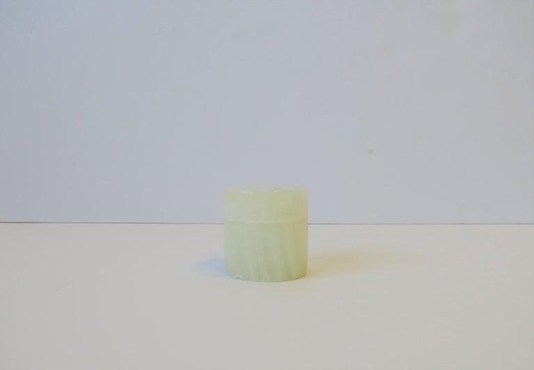 Modern Italian White Onyx Marble Round Box For Sale