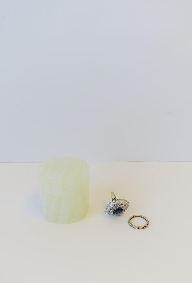 Polished Italian White Onyx Marble Round Box For Sale