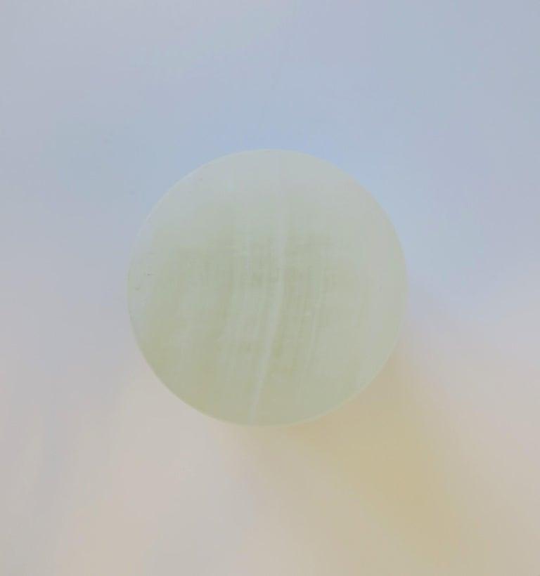Italian White Onyx Marble Round Box For Sale 1