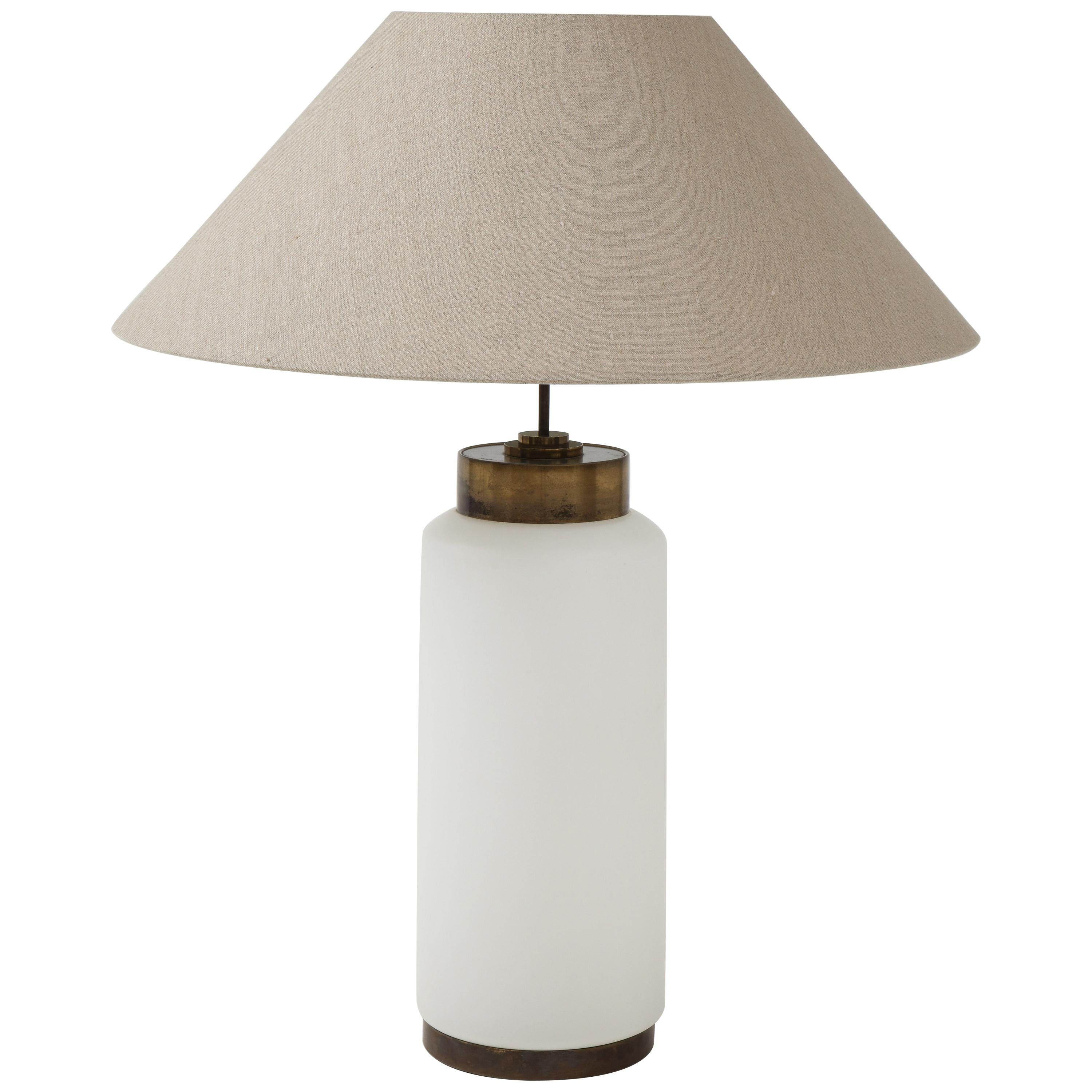 Italian White Opaline Glass and Brass Large Lamp with Belgian Linen Shade
