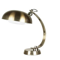 Italian White Painted and Anodized Aluminum 1960s Table Lamp with Bronze Finish