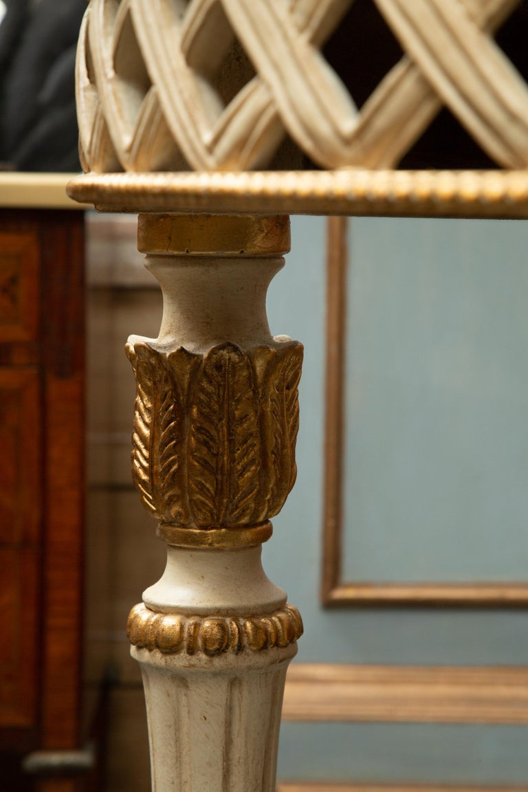 Louis XVI Italian White Painted and Parcel Gilt Demilune Console Table with Marble Top For Sale
