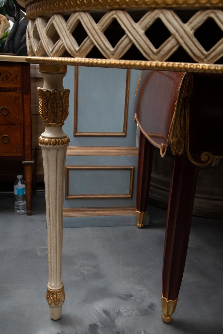 20th Century Italian White Painted and Parcel Gilt Demilune Console Table with Marble Top For Sale