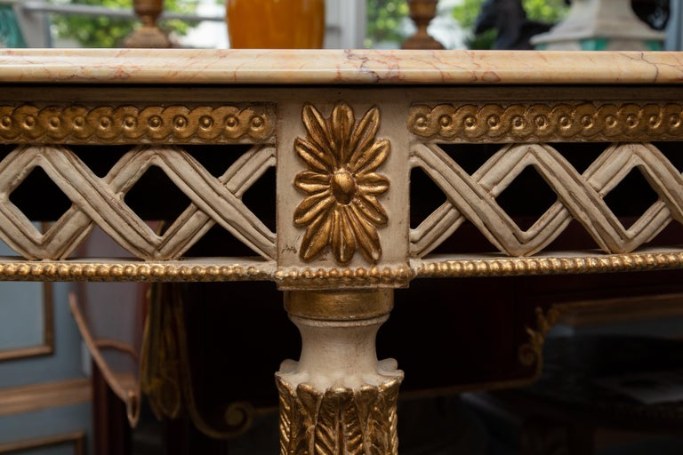 Wood Italian White Painted and Parcel Gilt Demilune Console Table with Marble Top For Sale