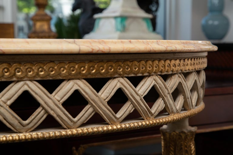 Italian White Painted and Parcel Gilt Demilune Console Table with Marble Top For Sale 1
