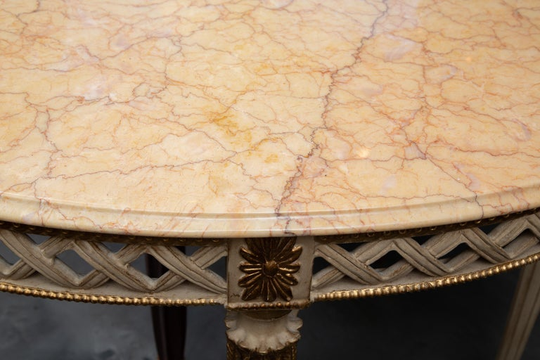 Italian White Painted and Parcel Gilt Demilune Console Table with Marble Top For Sale 2