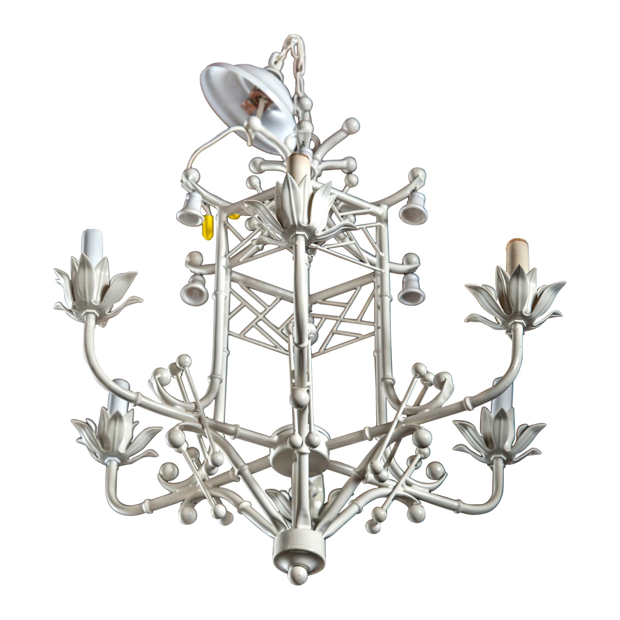 Italian White Painted Metal Chinoiserie Chandelier with Bells