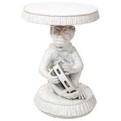 Italian White Painted Terracotta Monkey Table, circa 1970s