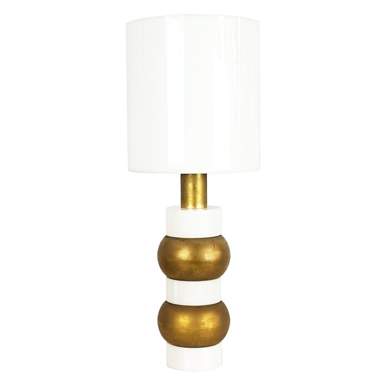 Italian White Perspex And Golden Metal 1960s Table Lamp With Cylindrical Shade