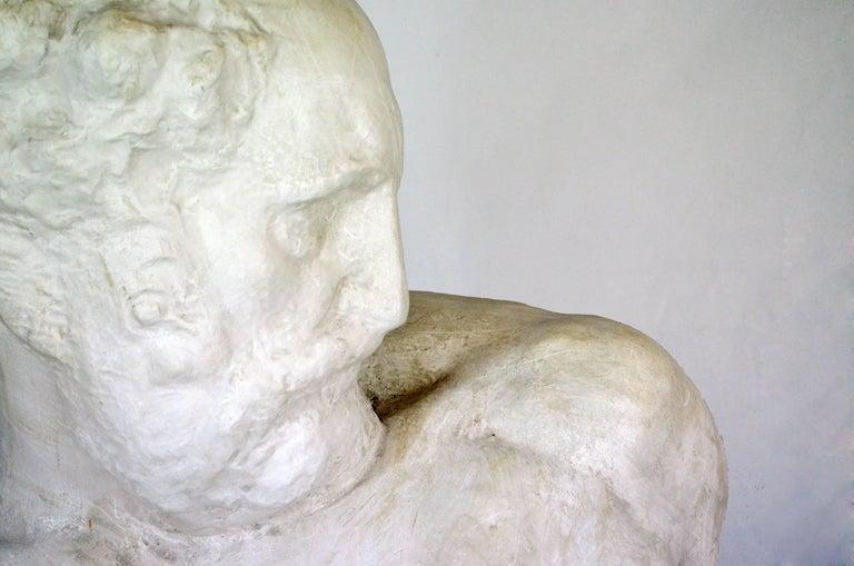 Mid-Century Modern Italian White Plaster Gypsum Bust Academic Representation of Crepuscolo For Sale