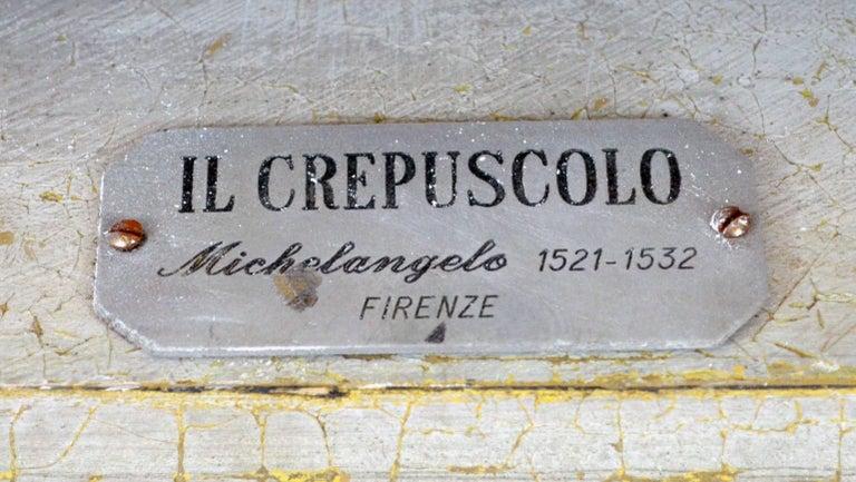 20th Century Italian White Plaster Gypsum Bust Academic Representation of Crepuscolo For Sale