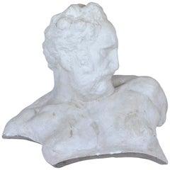 Italian White Plaster Gypsum Bust Academic Representation of Crepuscolo