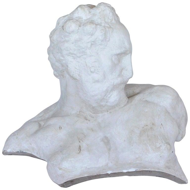 Italian White Plaster Gypsum Bust Academic Representation of Crepuscolo For Sale