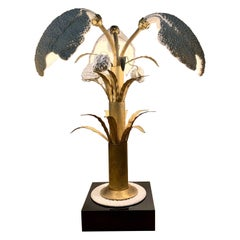 Italian White Porcelain and Brass Table Lamp Plant Shaped, 1970