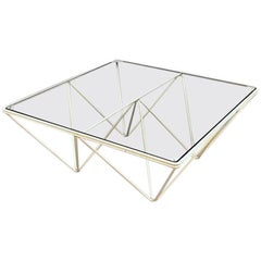 Italian White Steel and Glass Alanda Coffee Table by Paolo Piva for B&B Italia
