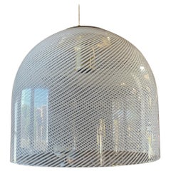 Italian White Stripe Murano Glass Globe Pendant Chandelier by Mazzega, 1970s