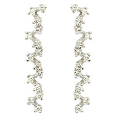 Italian White Top Grade Diamond Drop Zig Zag Earrings Handmade in Italy