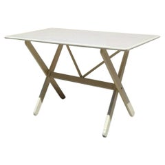 Italian White Wood Folding Table, 1960s