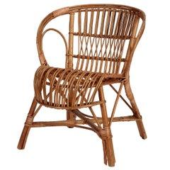 Italian Wicker Armchair, 1950s