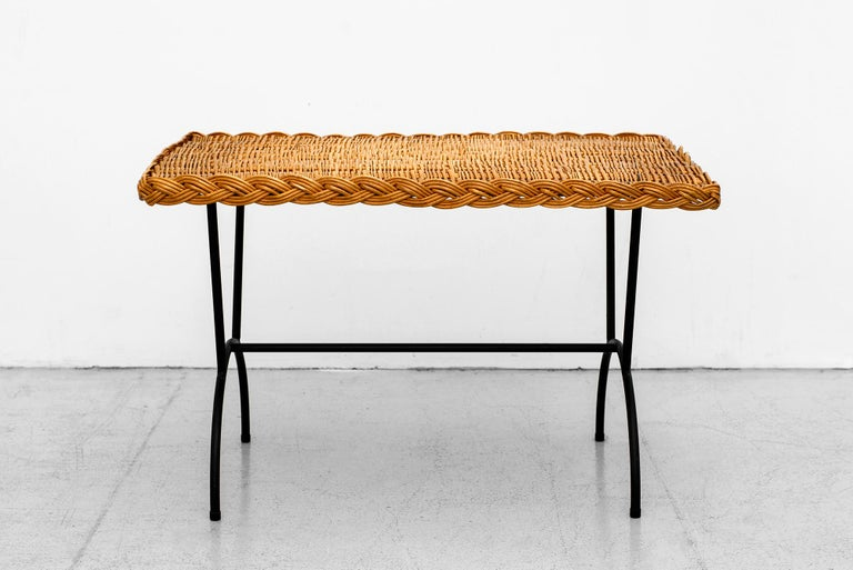 Mid-20th Century Italian Wicker Coffee Table For Sale