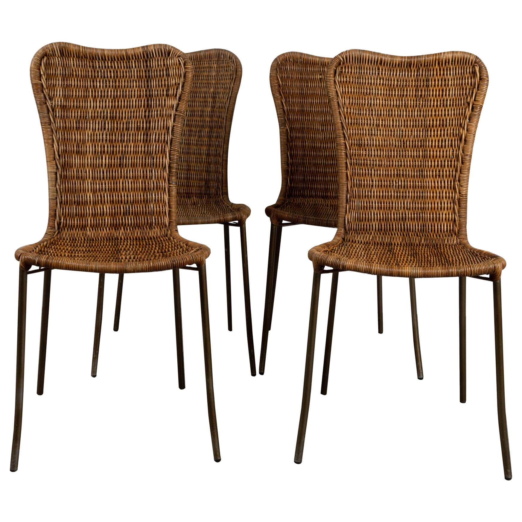 Italian Wicker Dining Chairs in Franco Campo & Carlo Graffi Style, Italy