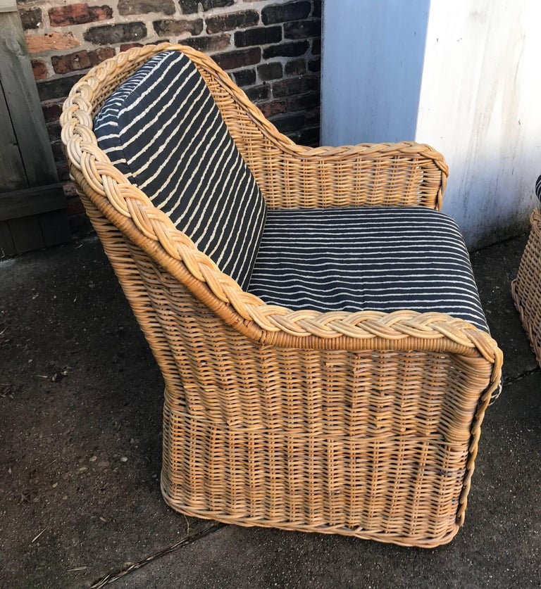 Italian Wicker Rattan Lounge Chair and Ottoman For Sale 4