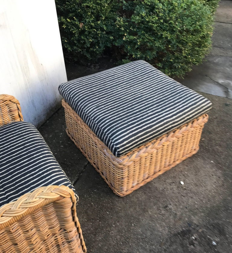 Italian Wicker Rattan Lounge Chair and Ottoman For Sale 6