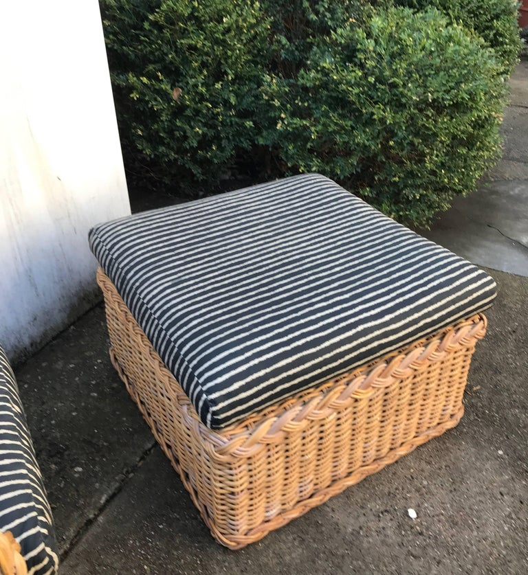 Italian Wicker Rattan Lounge Chair and Ottoman For Sale 7