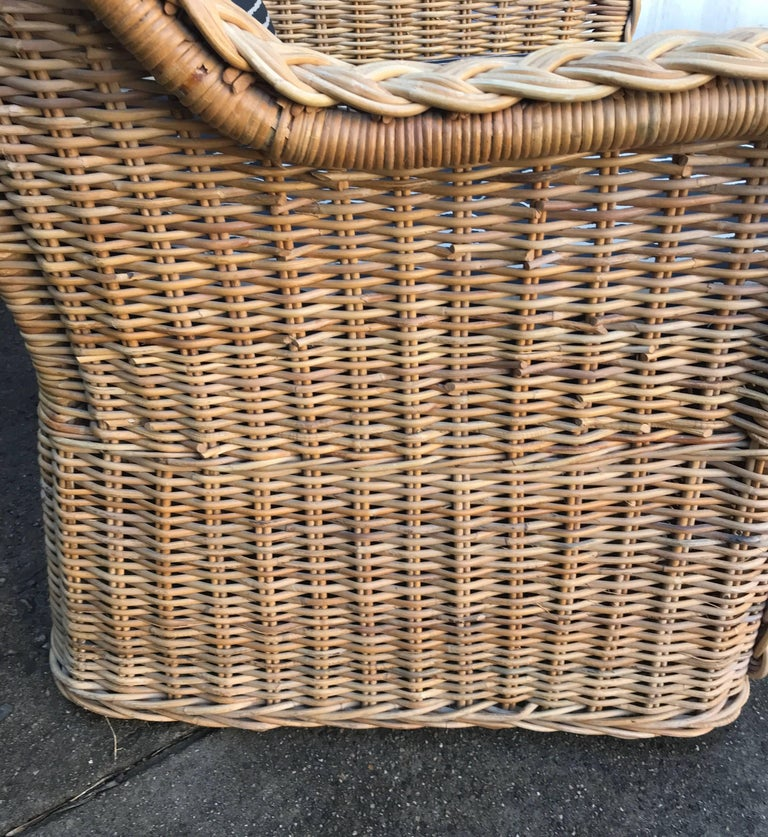 Italian Wicker Rattan Lounge Chair and Ottoman For Sale 9