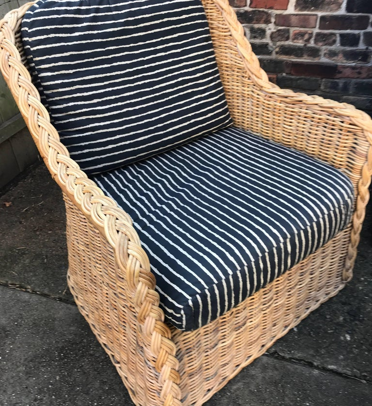 Italian Wicker Rattan Lounge Chair and Ottoman For Sale 10
