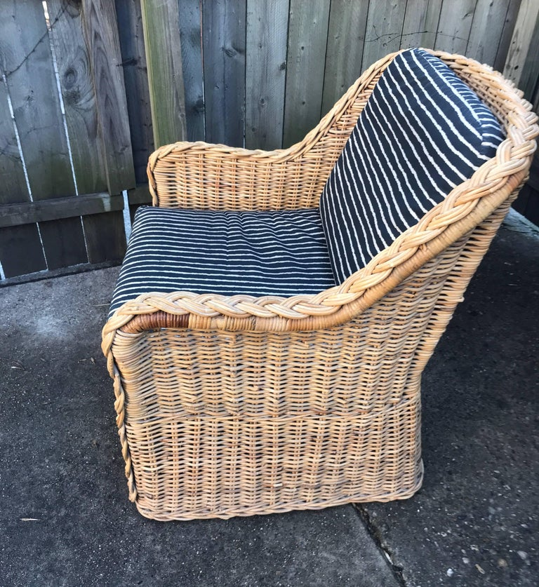 Italian Wicker Rattan Lounge Chair and Ottoman For Sale 11