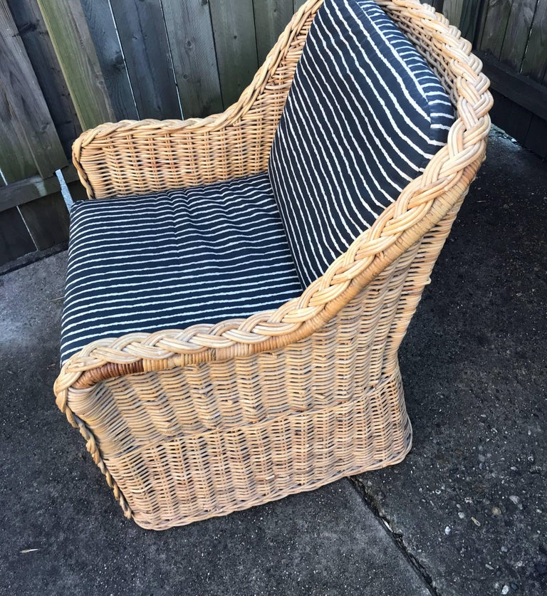 Italian Wicker Rattan Lounge Chair and Ottoman For Sale 12