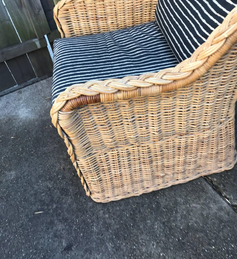 Italian Wicker Rattan Lounge Chair and Ottoman For Sale 13