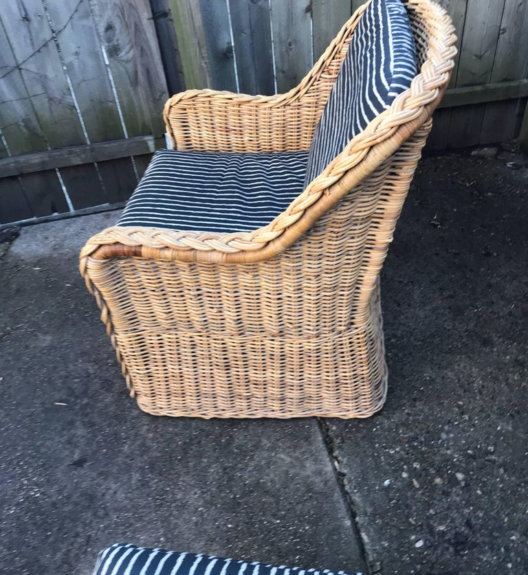 Italian Wicker Rattan Lounge Chair and Ottoman For Sale 14