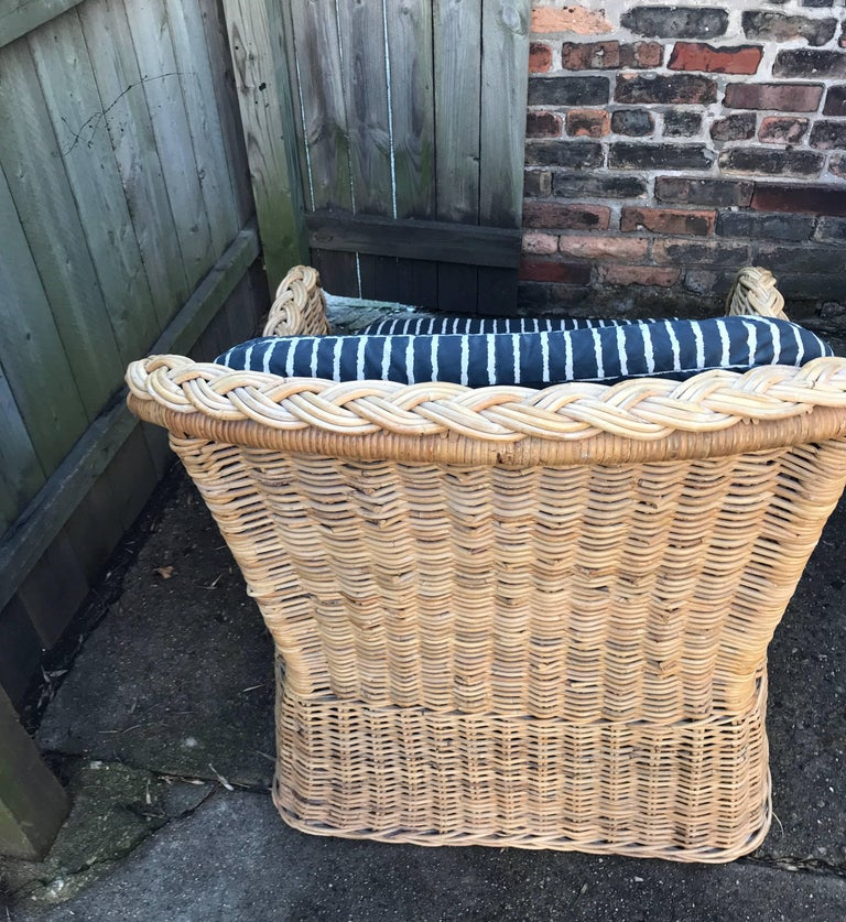 Woven Italian Wicker Rattan Lounge Chair and Ottoman For Sale