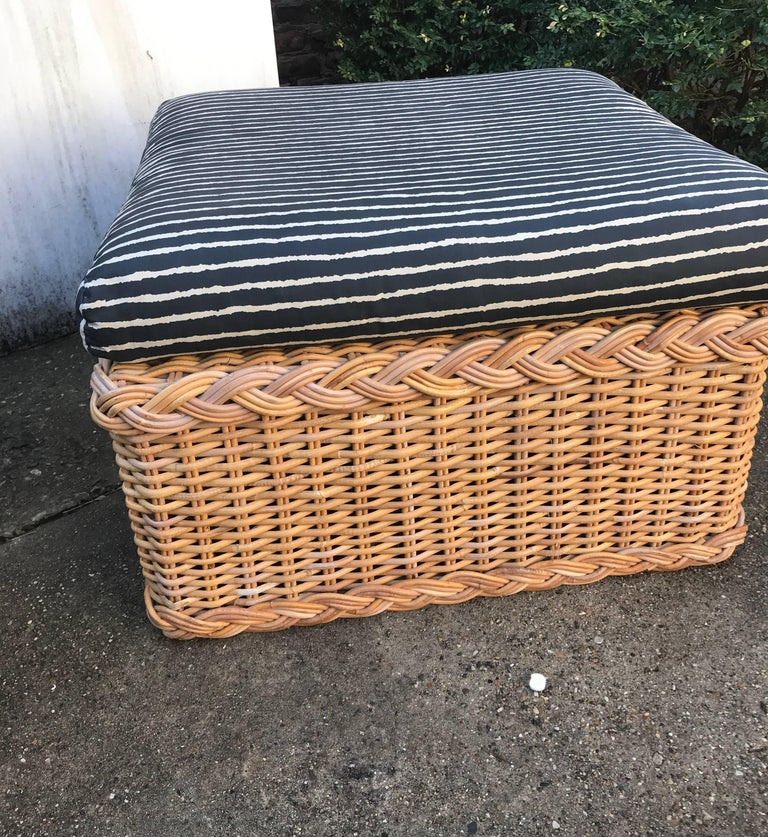20th Century Italian Wicker Rattan Lounge Chair and Ottoman For Sale