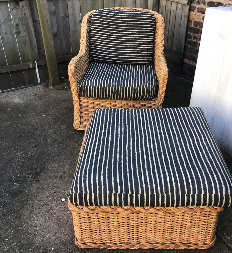 Italian Wicker Rattan Lounge Chair and Ottoman For Sale 2