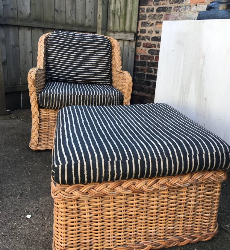 Italian Wicker Rattan Lounge Chair and Ottoman For Sale 3