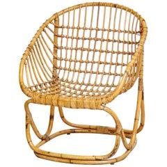 Italian Wicker Rattan Chair, circa 1960